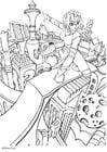 Dibujo para colorear Ciudad manga del futuro