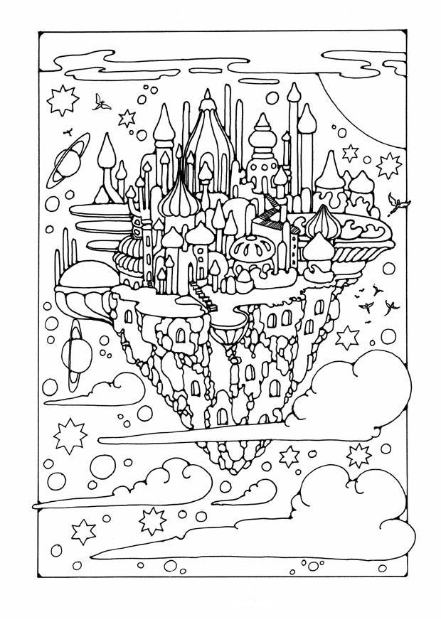 Dibujo para colorear ciudad volante