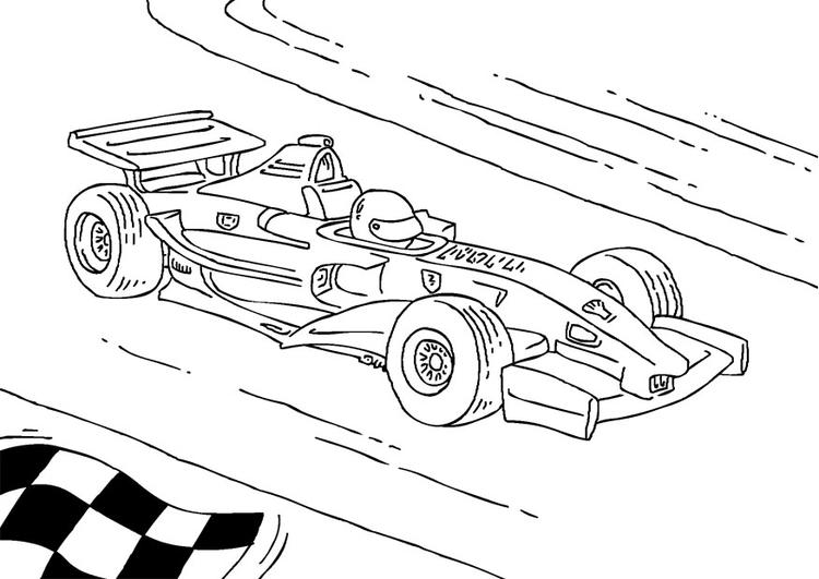 Dibujo para colorear coche de carreras de Fórmula 1   Img 27177