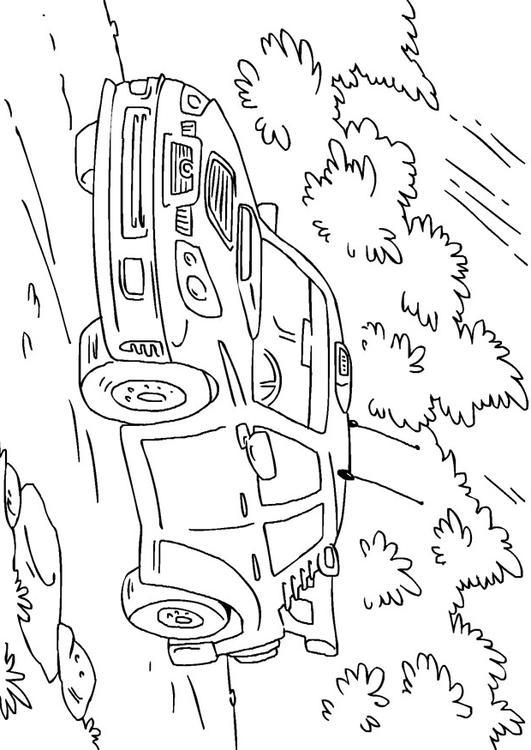 Dibujo para colorear coche de rally - Img 27170