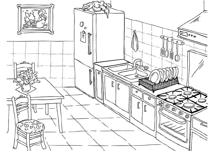 Dibujo para colorear cocina img 26224 for Dibujos de cocina