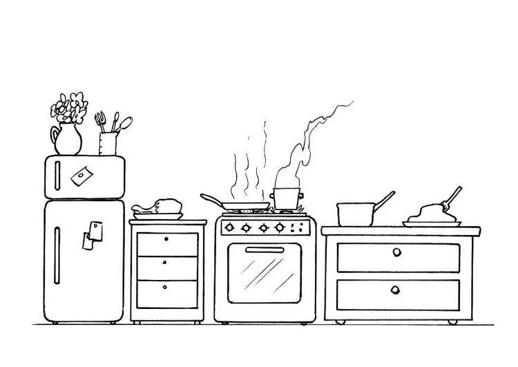Dibujo para colorear cocina img 21337 for Cocina dibujo