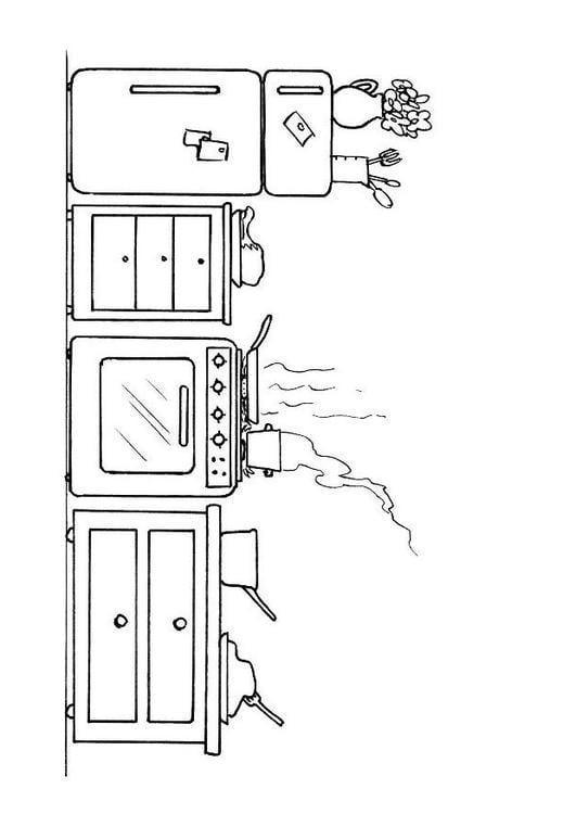 Dibujo para colorear cocina img 8200 for Comedor para dibujar