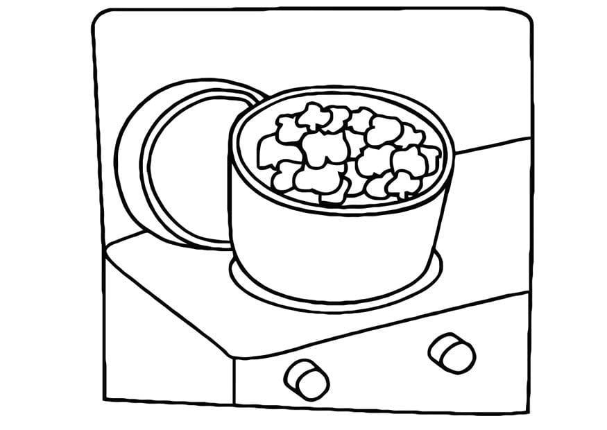 Dibujo para colorear cocinando - palomitas de maíz - Img 10969