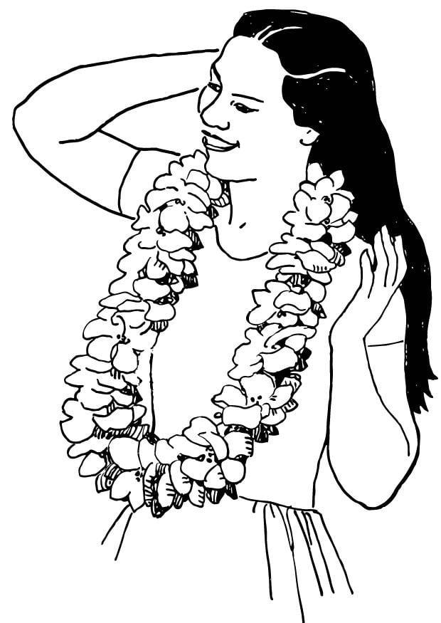 Dibujo para colorear Collar de flores  Img 13825