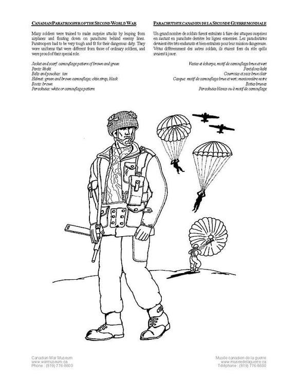 Dibujo Para Colorear Comando De Paracaidistas De La Segunda Guerra