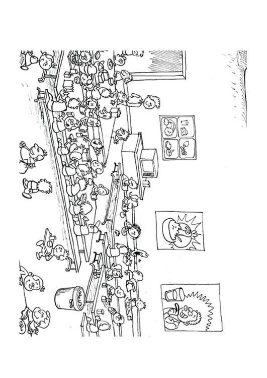 Dibujo para colorear comedor img 9500 for Dibujo de comedor escolar