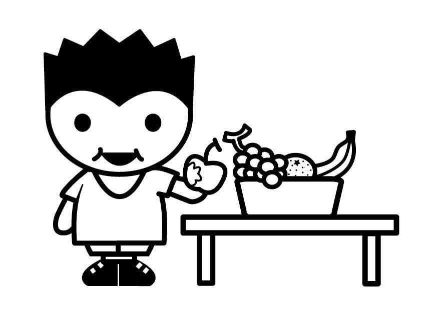 Dibujo Para Colorear Comer Fruta Dibujos Para Imprimir Gratis
