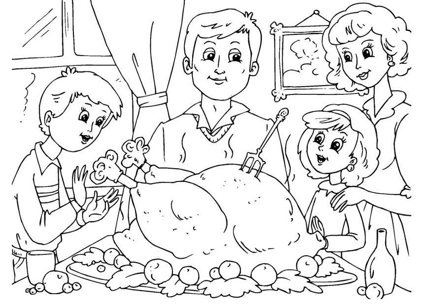 Dibujo para colorear comida de acción de gracias con la familia ...