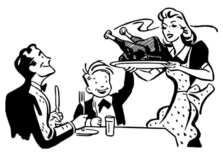 Dibujo para colorear comida de Acción de gracias - Img 27930