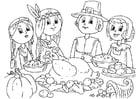 Dibujo para colorear compartir comida