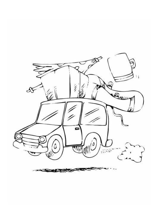 Dibujo para colorear Con el coche de vacaciones - Img 10767