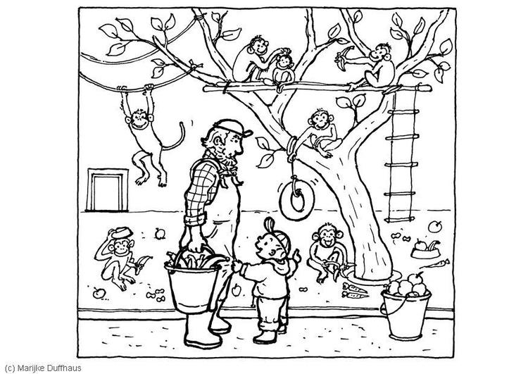 Dibujo para colorear Con los monos - Img 6468