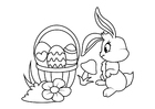 Dibujo para colorear Conejito de Pascua con canasta de Pascua