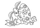Dibujo para colorear Conejito de pascua con huevo de pascua