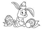 Dibujo para colorear Conejito de pascua con pollito de pascua