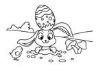 Dibujo para colorear Conejito de pascua con pollito