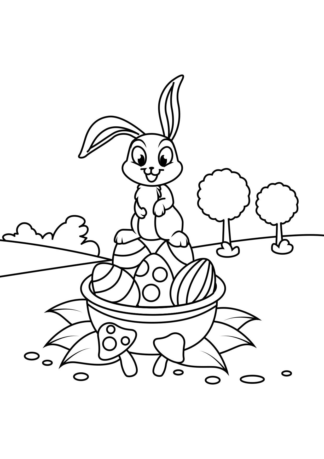 Dibujo Para Colorear Conejito De Pascua En Canasta De Pascua Dibujos Para Imprimir Gratis