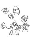 Dibujo para colorear Conejito de pascua juega con huevos de pascua
