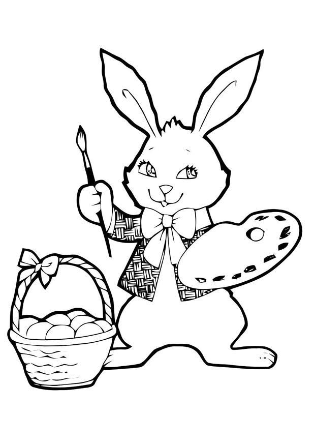 Dibujo para colorear conejo de pascua - Img 21955