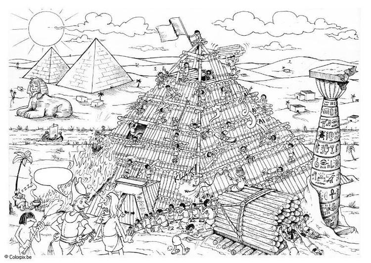 Dibujo para colorear Construcción de una pirámide - Img 12493