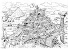 Dibujo para colorear Construcción de una pirámide