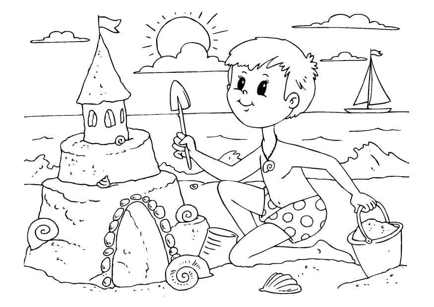 Dibujo para colorear construir un castillo de arena - Img 22604