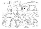 Dibujo para colorear construir un castillo de arena
