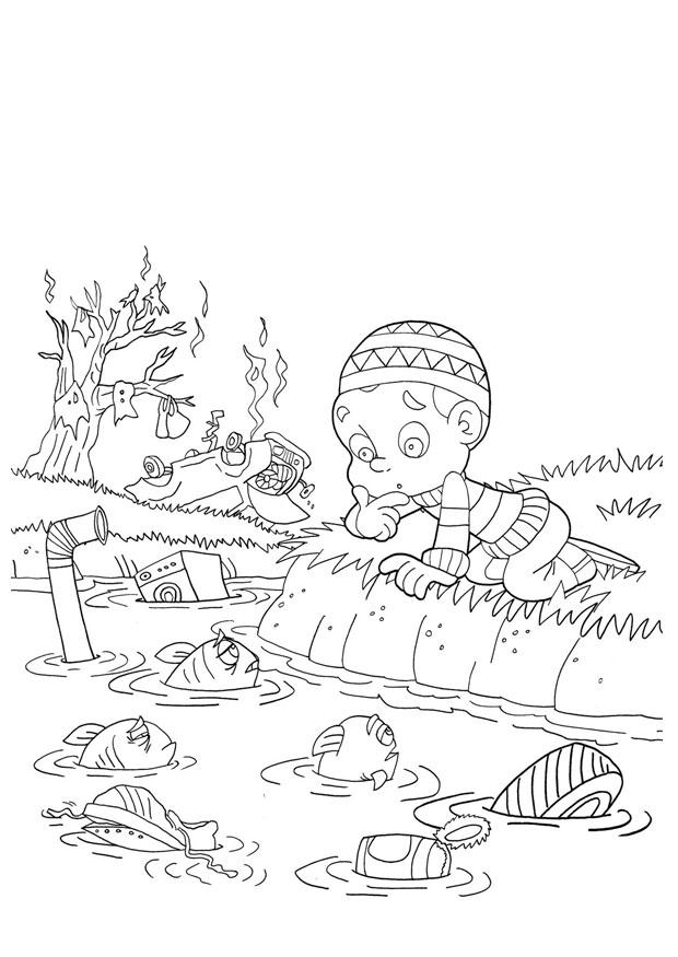 Dibujo para colorear contaminación del agua - Img 22000