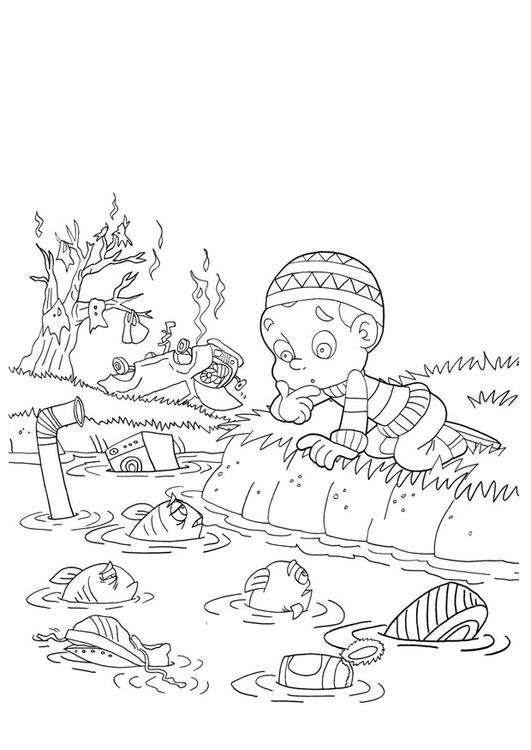 Dibujo para colorear contaminación del agua - Img 22004