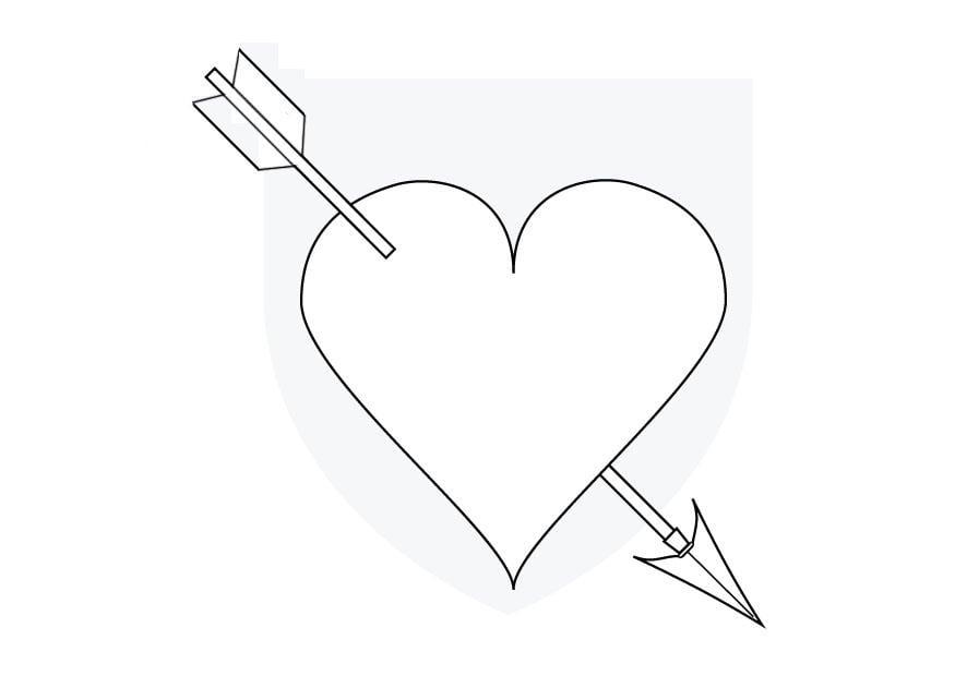 Dibujo para colorear Corazón de cupido - Img 9855