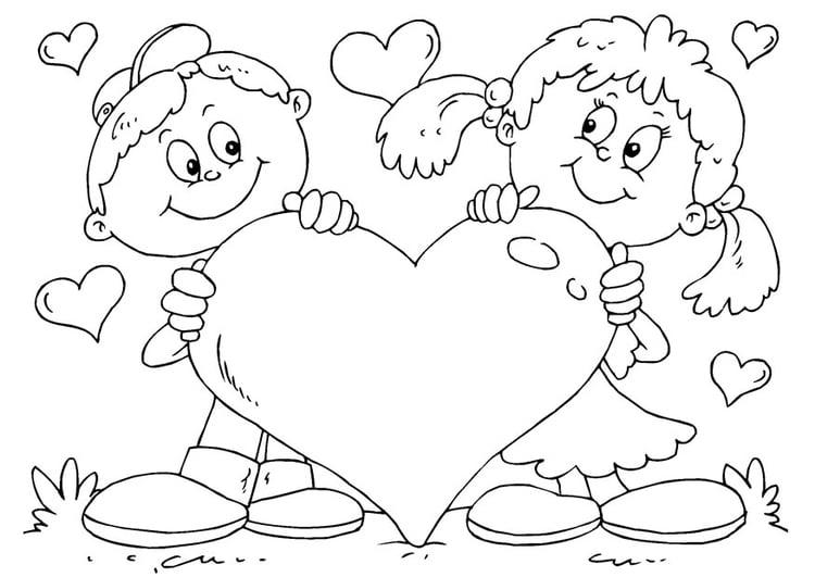 Dibujo para colorear corazón San Valentín - Img 24610