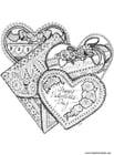 Dibujo para colorear Corazones de San Valentín