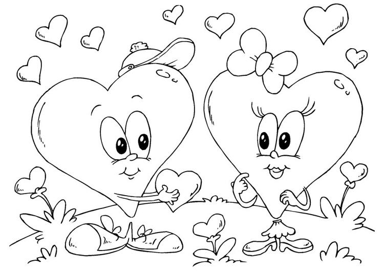 Dibujo para colorear corazones San Valentín - Img 24620