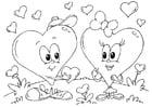 Dibujo para colorear corazones San Valentín
