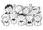 Dibujo para colorear coro de niños