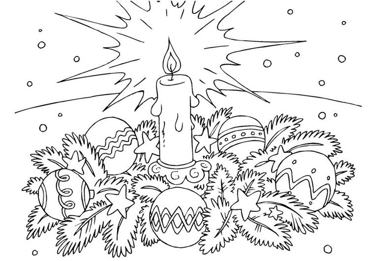 Dibujo para colorear corona de Navidad - Img 23377