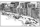 Dibujo para colorear Costa con apartamentos