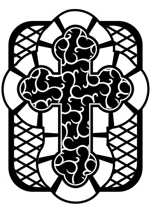 Dibujo para colorear cruz celta - Img 29836