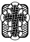Dibujo para colorear cruz celta