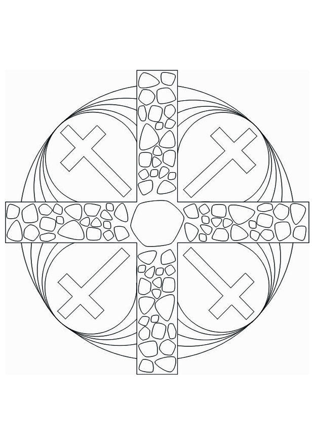 Dibujo para colorear Cruz mandala   Img 16437