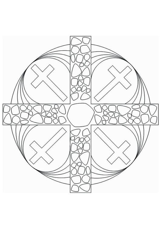 Dibujo Para Colorear Cruz Mandala Dibujos Para Imprimir Gratis
