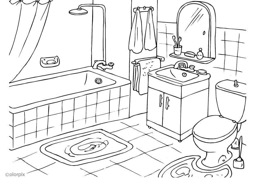 Dibujo para colorear cuarto de ba o img 25994 - Laminas para cuartos de bano ...