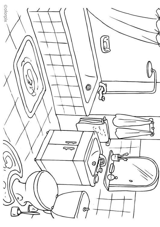 dibujo para colorear cuarto de baño - img 25994 - Imagenes De Un Bano Para Colorear