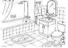 Dibujo para colorear cuarto de baño