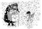Dibujo para colorear Cupido y la vieja mujer