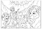 Dibujo para colorear Daniel en la fosa de los leones