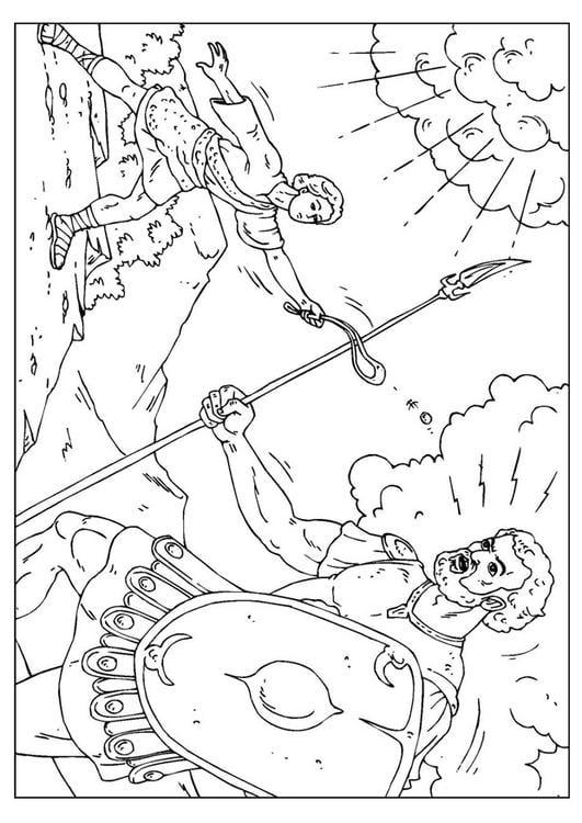 Dibujo para colorear David y Goliat - Img 25958