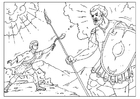 Dibujo para colorear David y Goliat