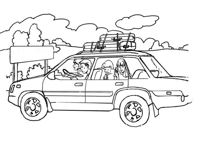 Dibujo para colorear De vacaciones con el coche - Img 8077